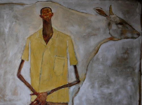 Olivia Pendergast, Boy and cow (go here to see more of this American artist's Malawi figuratives).