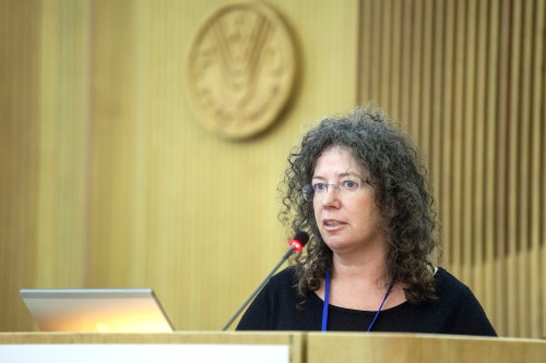 """16 February 2016, Rome, Italy - Delia Grace. FAO International Symposium on """"The Role of Agricultural Biotechnologies in Sustainable Food Systems and Nutrition"""". 2.2 Post production value addition and food safety, FAO headquarters (Red room)."""